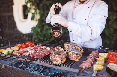 chef prepares meat on barbecue 260nw 670524799 - In Summer - Brighten your wedding with the soft rays of the sun!